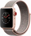 Apple - Geek Squad Certified Refurbished Apple Watch Series 3 (GPS + Cellular), 38mm with Pink Sand Sport Loop - Gold Aluminum
