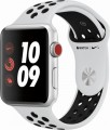 Apple - Geek Squad Certified Refurbished Apple Watch Nike+ Series 3 (GPS + Cellular), 42mm Silver Aluminum Case with Sport Band - Silver Aluminum