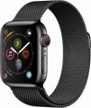 Apple - Apple Watch Series 4 (GPS + Cellular), 40mm Space Black Stainless Steel Case with Space Black Milanese Loop - Space Black Stainless Steel