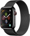 Apple - Apple Watch Series 4 (GPS + Cellular), 44mm Space Black Stainless Steel Case with Space Black Milanese Loop - Space Black Stainless Steel