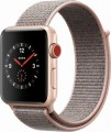 Apple - Geek Squad Certified Refurbished Apple Watch Series 3 (GPS + Cellular), 42mm with Pink Sand Sport Band - Gold Aluminum