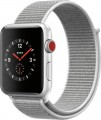 Apple - Apple Watch Series 3 (GPS + Cellular), 42mm Silver Aluminum Case with Seashell Sport Loop - Silver Aluminum