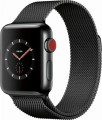 Apple - Apple Watch Series 3 (GPS + Cellular), 38mm Space Black Stainless Steel Case with Space Black Milanese Loop - Space Black Stainless Steel