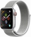 Apple - Apple Watch Series 4 (GPS + Cellular), 40mm Silver Aluminum Case with Seashell Sport Loop - Silver Aluminum